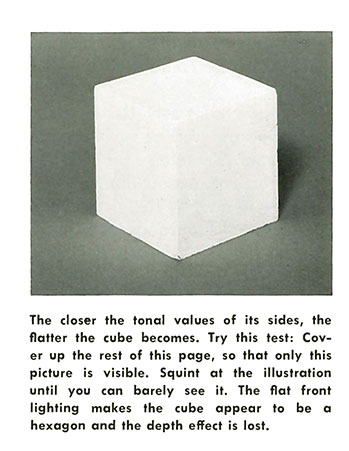 The closer the tonal values of its sides, the flatter the cube becomes. Try this test: Cover up the rest of this page, so that only this picture is visible. Squint at the illustration until you can barely see it. The flat front lighting makes the cube appear to be a hexagon and the depth effect is lost.