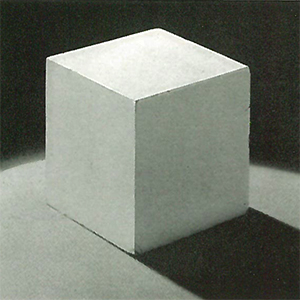 The final step is to provide one more light, also at table level, to add just the correct amount of shadow detail to the right plane of the cube. Note that the tonal differences between the top and left planes and the left and right planes are in fairly equal increments. Also, although three lights were used, there is only one shadow. For close-up work, such as this, a White-cardboard reflector could have taken the place of the third light.
