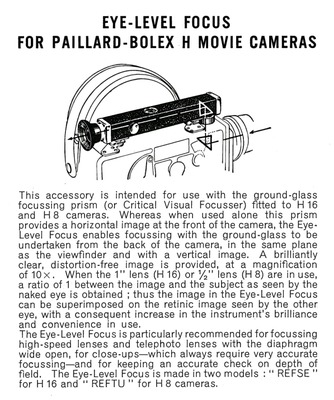 Eye-Level Focus for the Paillard-Bolex Movie Cameras