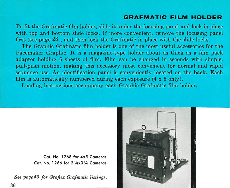 Graflex Grafmatic Film Holder for Pacemaker Crown Graphic and Speed Graphic Cameras