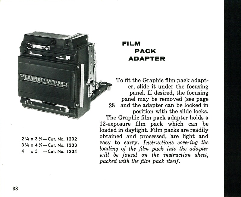 Graflex Film Pack Adapter for Pacemaker Crown Graphic and Speed Graphic Cameras