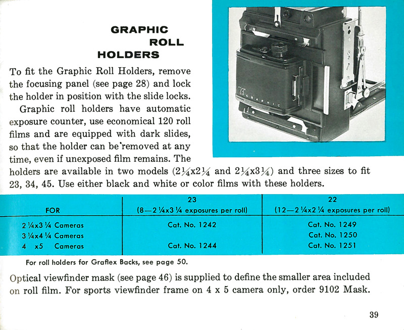 Graflex Graphic Roll (Film) Holders for Pacemaker Crown Graphic and Speed Graphic Cameras