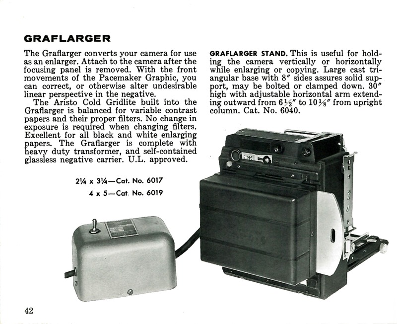 Graflex Graflarger for Pacemaker Crown Graphic and Speed Graphic Cameras