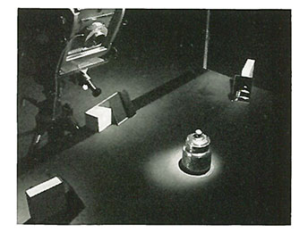 Studio lighting set-up showing mirrors used as fill lights.