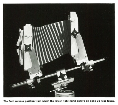 The final camera position from which the lower right-hand picture on page 33 was taken.