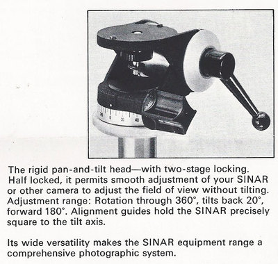 The rigid pan-and-tilt head—with two-stage locking. Half locked, it permits smooth adjustment of your SINAR or other camera to adjust the field of view without tilting. Adjustment range: Rotation through 360°, tilts back 20°, forward 180°. Alignment guides hold the SINAR precisely square to the tilt axis. Its wide versatility makes the SINAR equipment range a comprehensive photographic system.